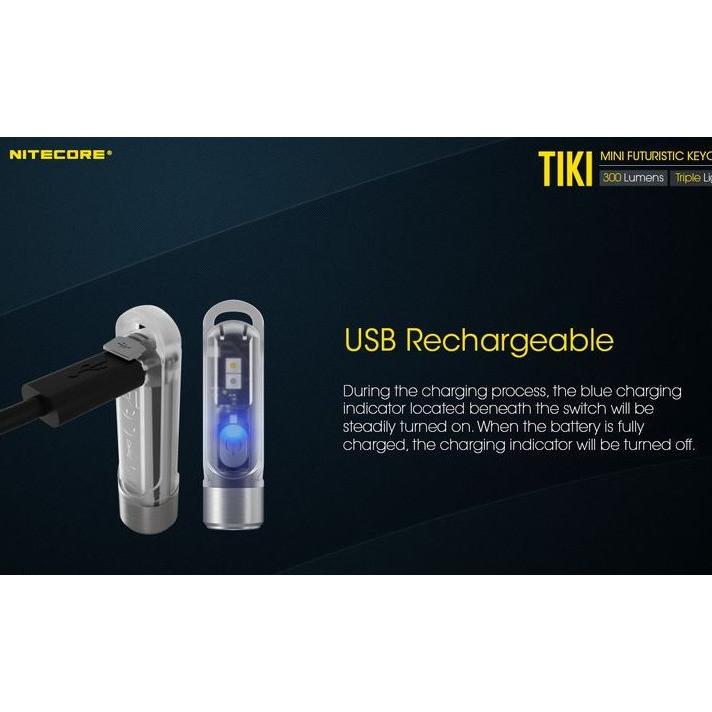 Minie Lampe Tiki Nitecore torche compacte porte clés rechargeable usb 300 lumens économie éclaira - Voir en grand