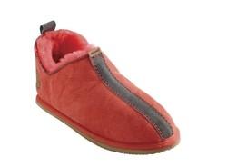 """Chaussons """"Moderno"""" corail en mouton retourné - Chaussons-pantoufles en peau et laine - La Petite Boutique - Voir en grand"""