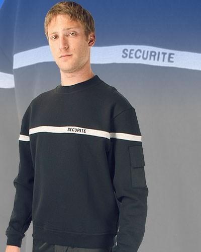 sweat sécurité noir bande grise broderie poche stylo - Voir en grand