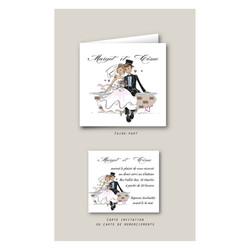 Carte invitation mariage personnalisé, joli couple, en tenue de cérémonie, grenoble - Voir en grand