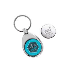 Porte clé métal argenté,  avec  jeton de caddie. personnalisé couleur amalgame grenoble