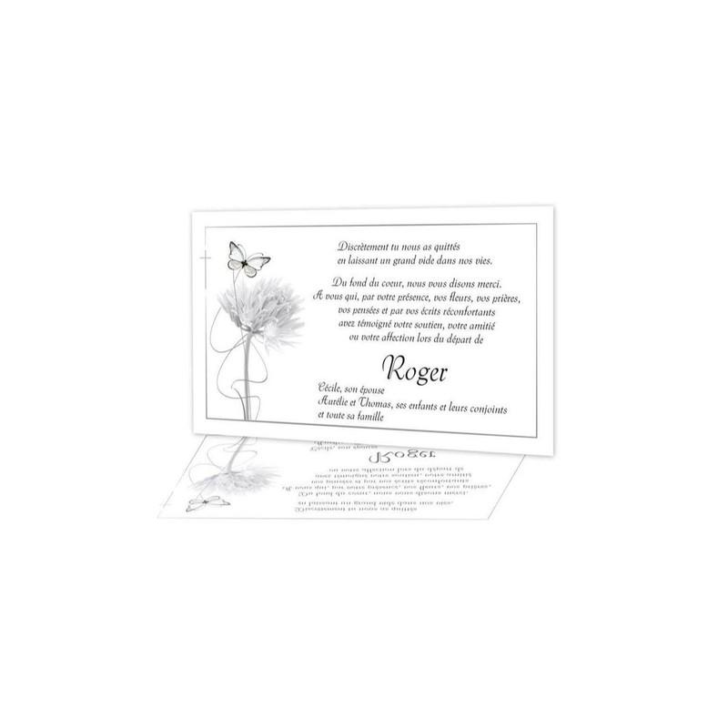 Carte Remerciement Deces Condoleances Deuil Pissenlit Et Papillon Amalgame A Grenoble