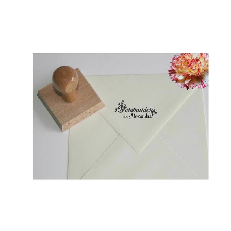 tampon de Communion solennelle personnalisé,  tampon carte de communion, graveur amalgme grenoble - Voir en grand
