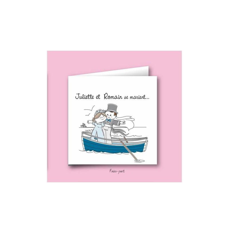 Préférence Faire part mariage, amoureux en bateau - Amalgame imprimeur-graveur ZF85