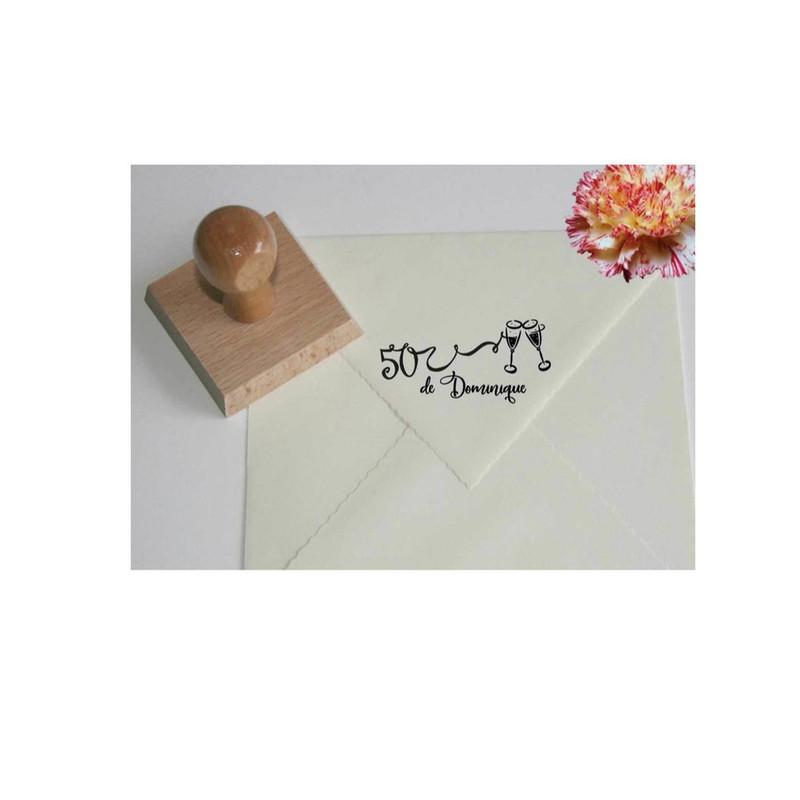 Tampon  anniversaire, Tampon Scrapbooking, Design stylisé tampon, création, 50 ans, Graveur amalgame - Voir en grand