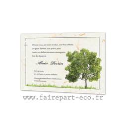 Arbre chêne, Remerciements de décès, condoléances papier Kraft,  amalgame print Grenoble - Voir en grand