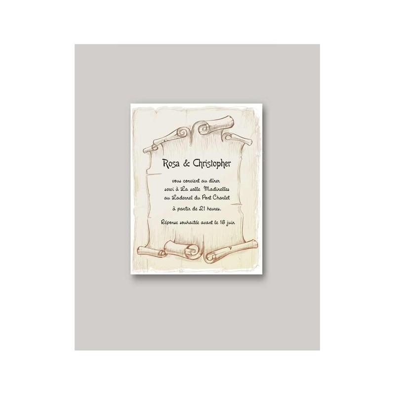 faire part mariage invitation parchemin illustr art de. Black Bedroom Furniture Sets. Home Design Ideas