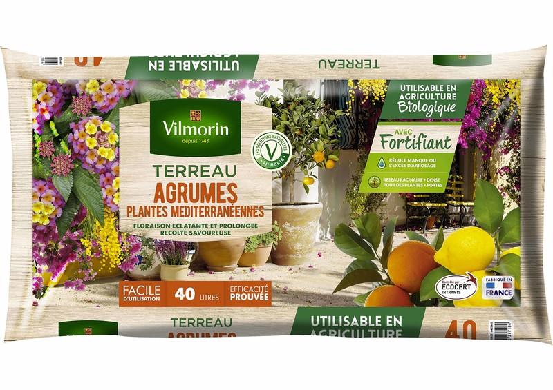terreau agrumes et plantes méditerranéennes vilmorin 40 litres citronnier oranger olivier laurier - Voir en grand