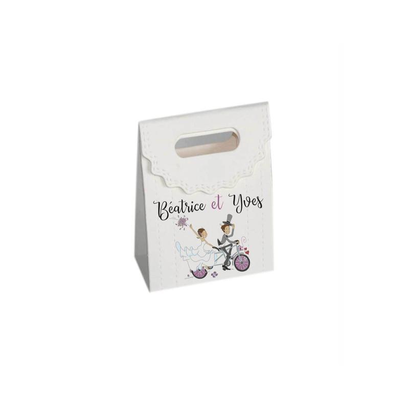 Les maries en vélo boite à dragées personnalisé, 2CV  rouge + prenoms, amalgame imprimerie grenoble  - Voir en grand