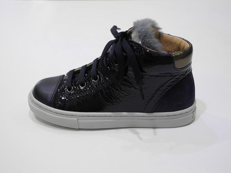 Chaussure lacet avec un zip marine - Voir en grand
