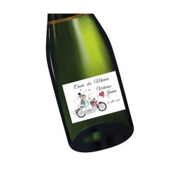 Etiquette bouteille mariage Motards, mariés en motard, imprimerie amalgame  grenoble