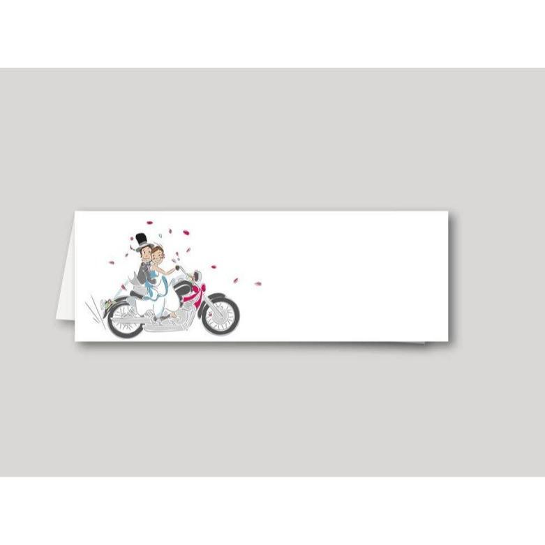 Marque-place mariage Motards, mariés en motard, imprimerie amalgame  grenoble - Voir en grand