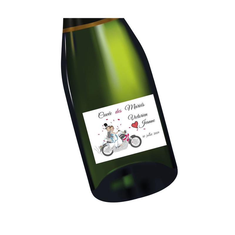 Etiquette bouteille mariage Motards, mariés en motard, imprimerie amalgame  grenoble - Voir en grand