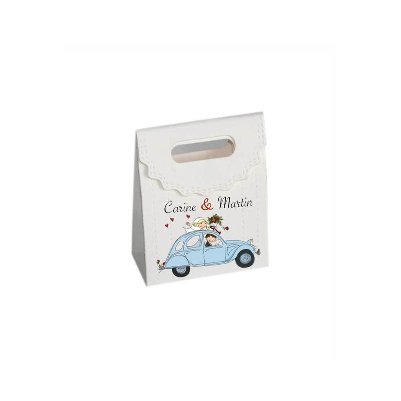 Boite à dragée décor vintage, mythique voiture 2CV bleu, amalgame, imprimerie grenoble - Voir en grand