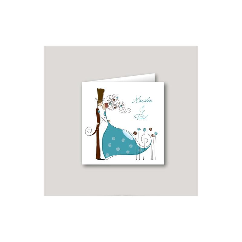 Faire part mariage turquoise, invitation moderne Charlety, amalgame print grenoble - Voir en grand
