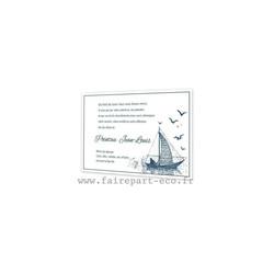 carte deces, condoléances, theme de la mer, bateau voilier pecheur, amalgame imprimeur grenoble - Voir en grand