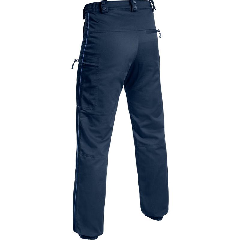 pantalon swat pm treillis toe marine liseré bleu bas de jambe élastiqué pas cher - Voir en grand