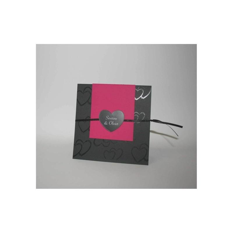 faire part mariage invitation lolita noir fuchsia grenoble amalgame imprimeur graveur. Black Bedroom Furniture Sets. Home Design Ideas