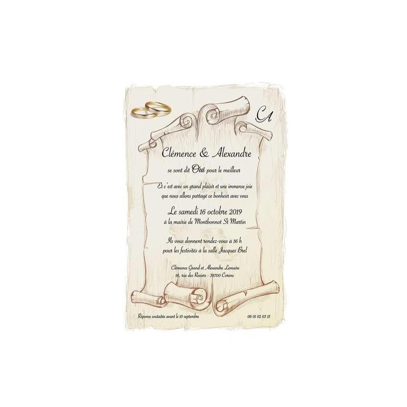 Parchemin Invitation Faire Part Mariage Illustre Art De Tradition Amalgame Imprimeur Graveur
