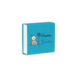 boite à dragée bleu turquoise, personnalisée, imprimerie grenoble amalgame - Voir en grand