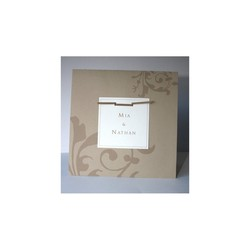 faire part mariage  brun papier naturel, superbes arabesques, 1,70 ¤