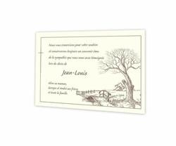Arbre chêne automne, Pont de bois, remerciements deces, crayonné pleine nature, amalgame imprimerie