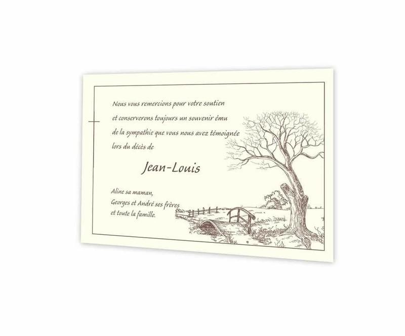Arbre chêne automne, Pont de bois, remerciements deces, crayonné pleine nature, amalgame imprimerie - Voir en grand