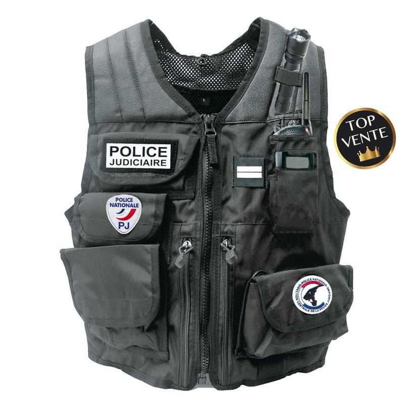 gilet d'intervention tactique identification porte accessoires forces de l'ordre emplacement velcro - Voir en grand