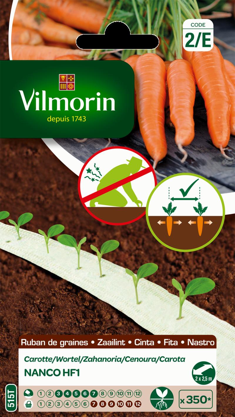 carotte nanco hybride f1 vilmorin graine en ruban semence potager sachet semis - Voir en grand