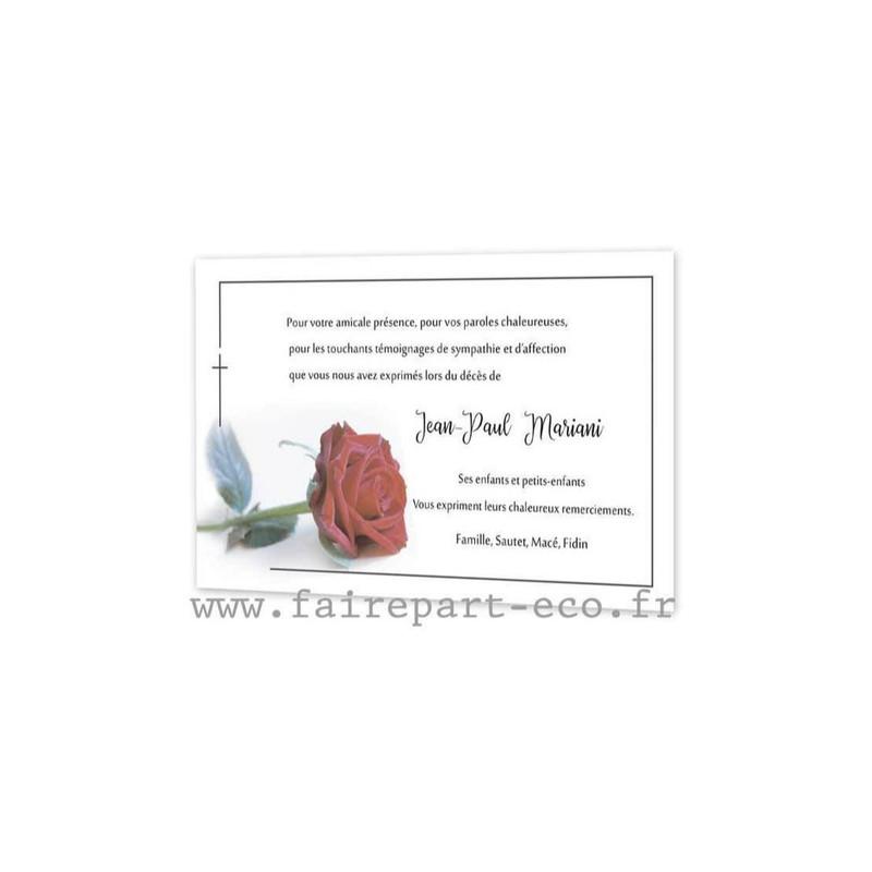 Rose rouge, Faire part remerciements décès, condoléances, Lucrecia, amalgame grenoble - Voir en grand