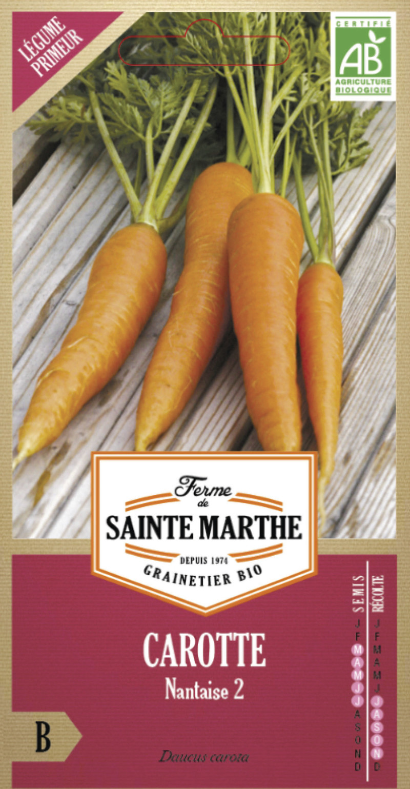 carotte nantaise amelioree bio la ferme de sainte marthe graine semence potager sachet semis - Voir en grand
