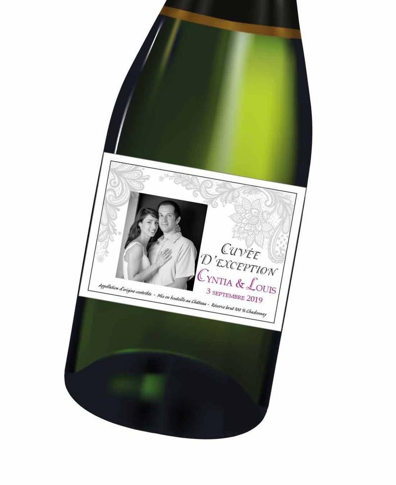 Etiquette Bouteille Vin Champagne Eau Personnalise Dentelle Grise Noir