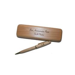 coffret ecrin ensemble de bureau + stylo hêtre clair gravé, Amalgame à Grenoble - Voir en grand