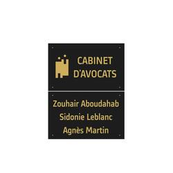 plaque plexiglas, cabinet avocat, noir lettres or, graveur amalgame à grenoble - Voir en grand