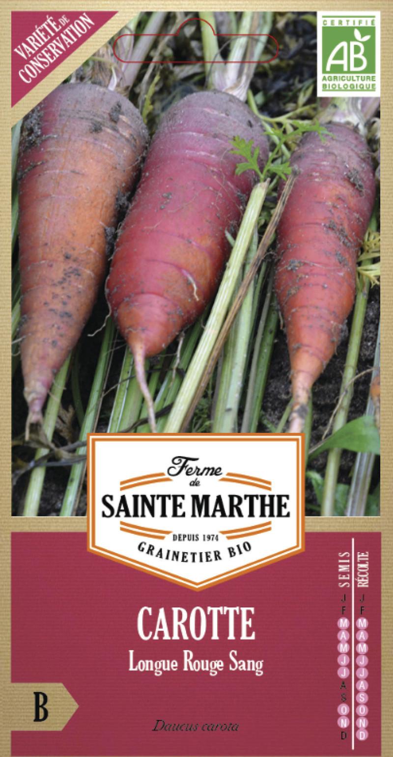 carotte longue rouge sang bio la ferme de sainte marthe graine semence potager sachet semis - Voir en grand