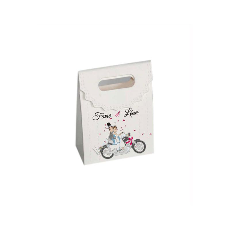boîte à dragée de Motards amoureux personnalisée, par malgame imprimerie grenoble - Voir en grand