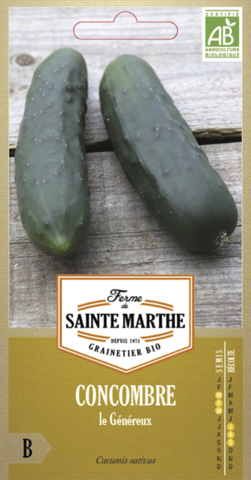 concombre le genereux bio ferme de sainte marthe graine semence potager sachet semis - Voir en grand