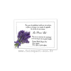 Remerciements deces, carte condoléance, Deuil, bouquet de lavande, amalgame print, Grenoble - Voir en grand