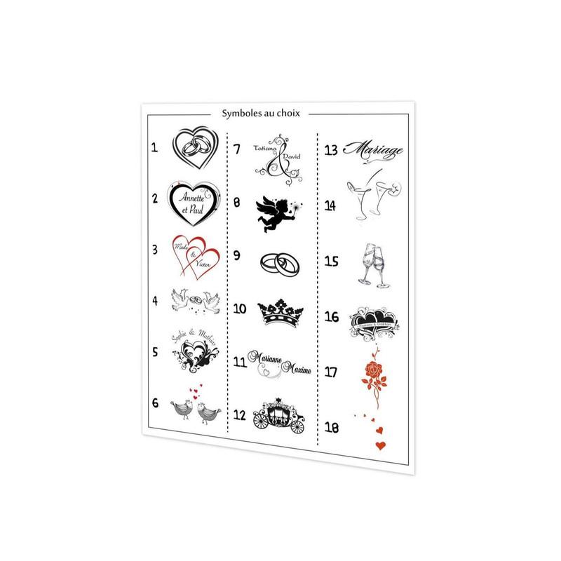 Logo mariage, pour boite à dragées, 10 couleurs, amalgame imprimeur graveur grenoble - Voir en grand