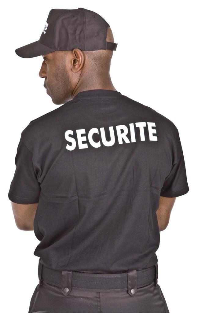 t.shirt sécurité noir floquage blanc dos - Voir en grand
