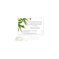 carte condoléances, coccinelle rouge, branche bamboo, amalgame imprimeur grenoble
