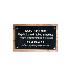plaque plexiglas psychologue, noir lettres or, graveur amalgame à grenoble - Voir en grand