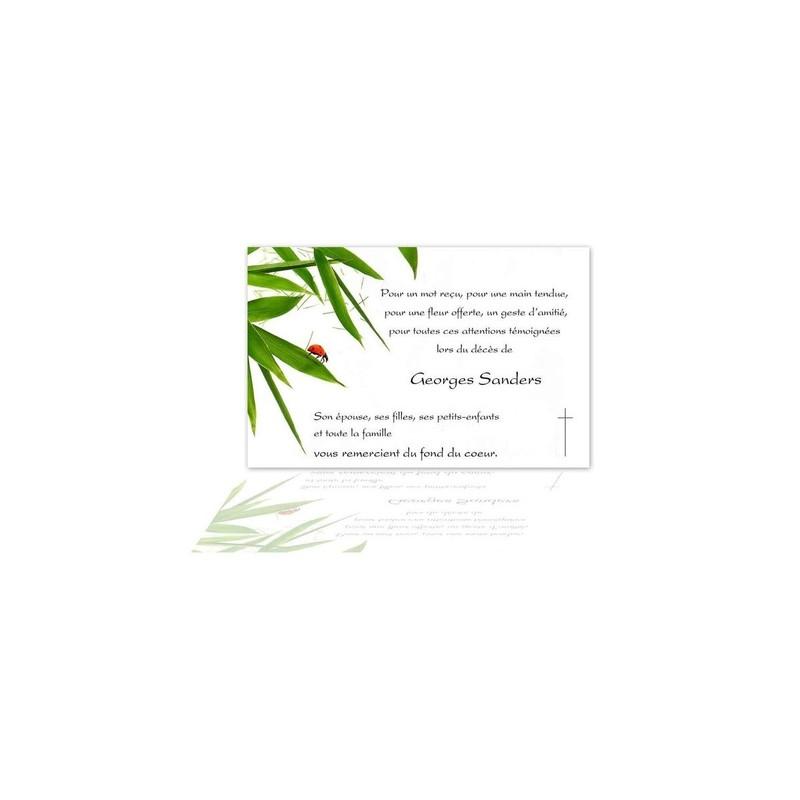 carte condoléances, coccinelle rouge, branche bamboo, amalgame imprimeur grenoble - Voir en grand