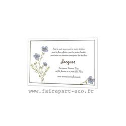 Fleurs bleus sauvages, Remerciement deces, condoleance, defunt amalgame imprimeur à grenoble - Voir en grand