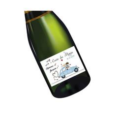 Etiquette bouteille vin 2CV vintage  faire part mariage, carte invitation, amalgame print grenoble