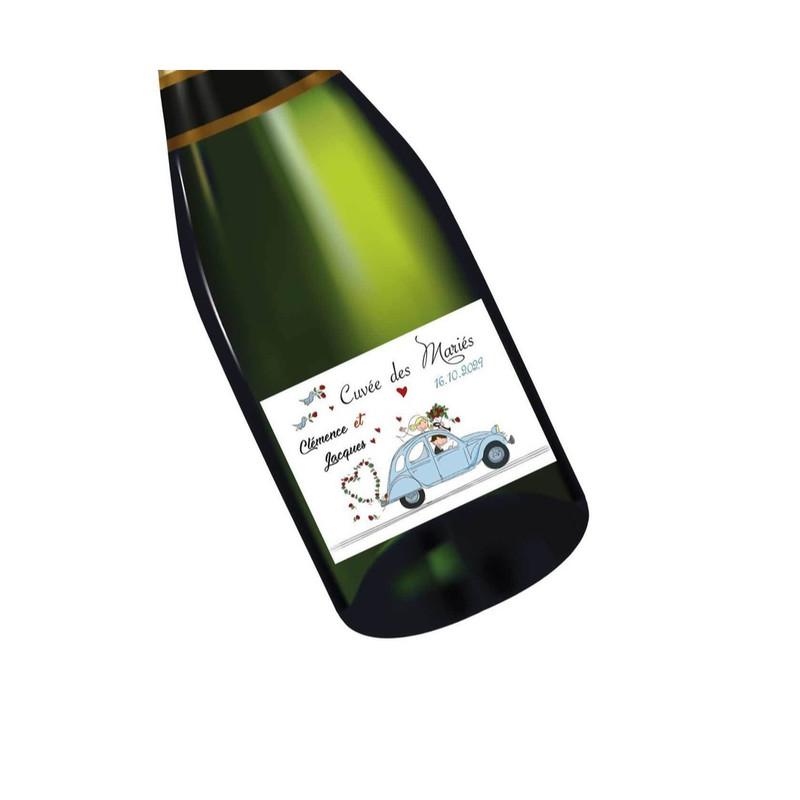 Etiquette bouteille vin 2CV vintage  faire part mariage, carte invitation, amalgame print grenoble - Voir en grand