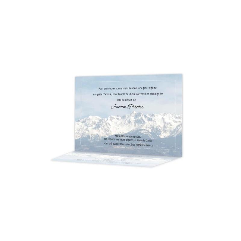 Carte Remerciement Deces Montagne Chaine Belledonne Enneige Les Alpes Francaises Grenoble