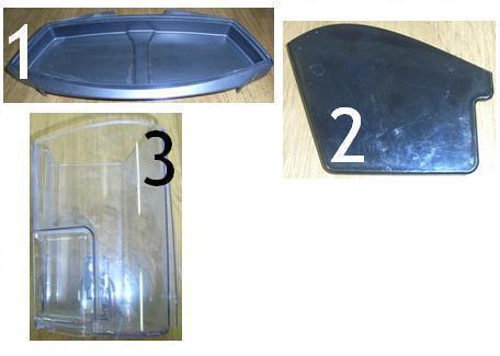 1: Bac de récupération 2: couvercle réservoir à eau 3: réservoir à eau machine à café Priméa Saeco - Voir en grand