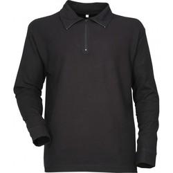 chemise type f1 noir uni col zip coton sous pull polo manches longues - Voir en grand