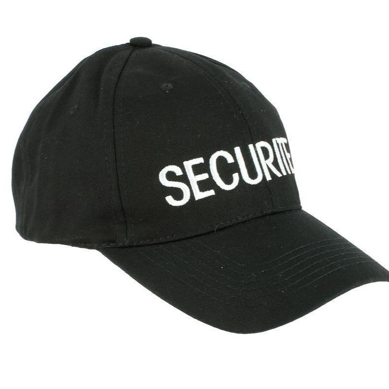 casquette broderie sécurité couvre-chef noir avec broderie fil blanc confortable agréable à port - Voir en grand